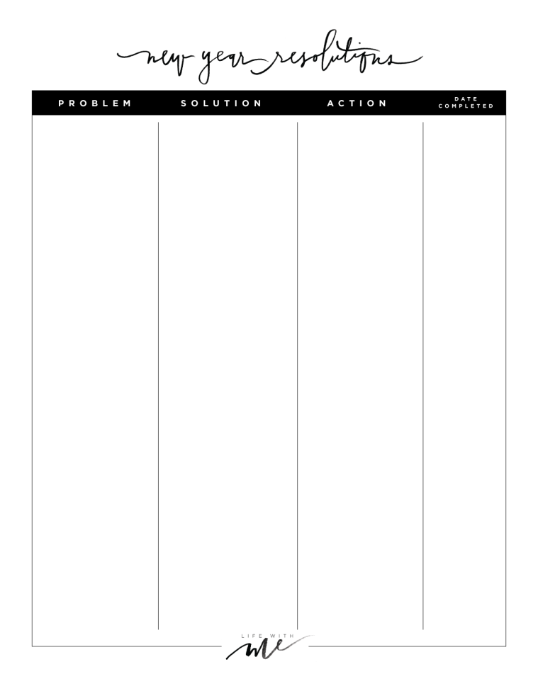 New years resolutions printable worksheets life with for New years goals template