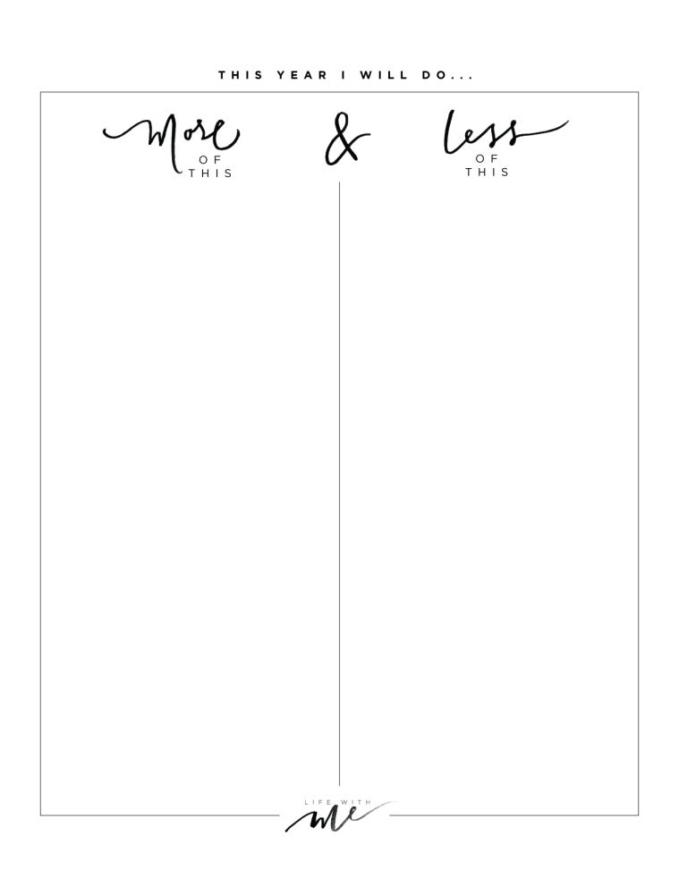 marianna hewitt new year resolution goal sheet printable printables pinteres more of this less of that work sheet