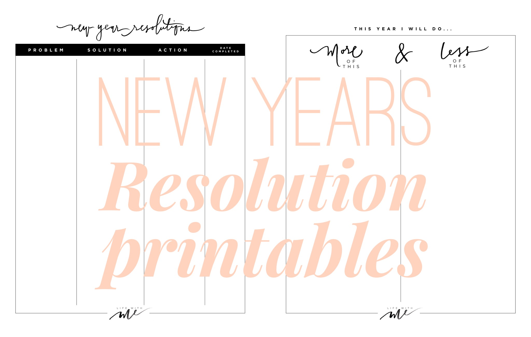 New Years Resolutions + Printable Worksheets - Life With Me