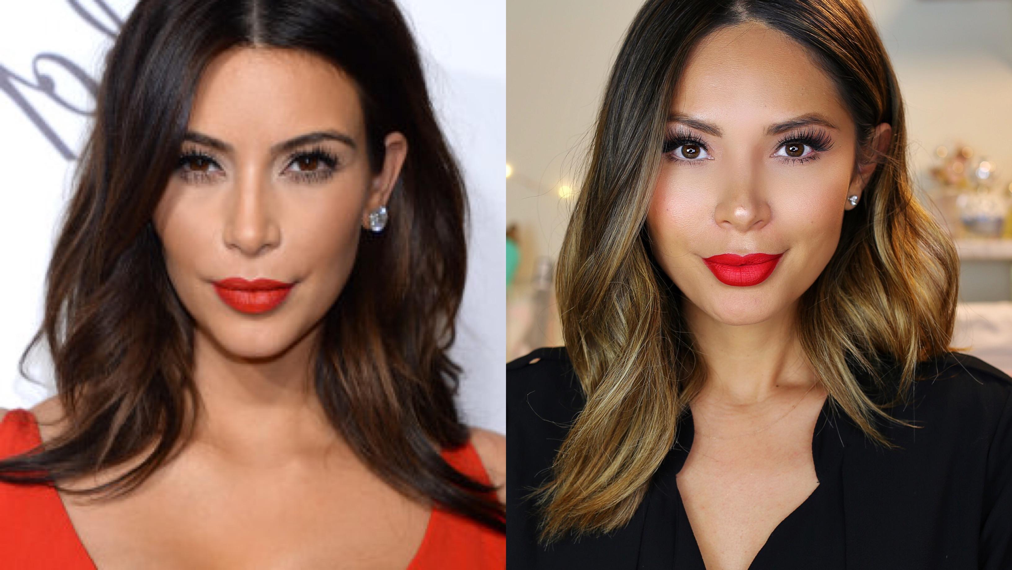 Marianna Hewitt Kim Kardashian Hair Tutorial Red Lipstick