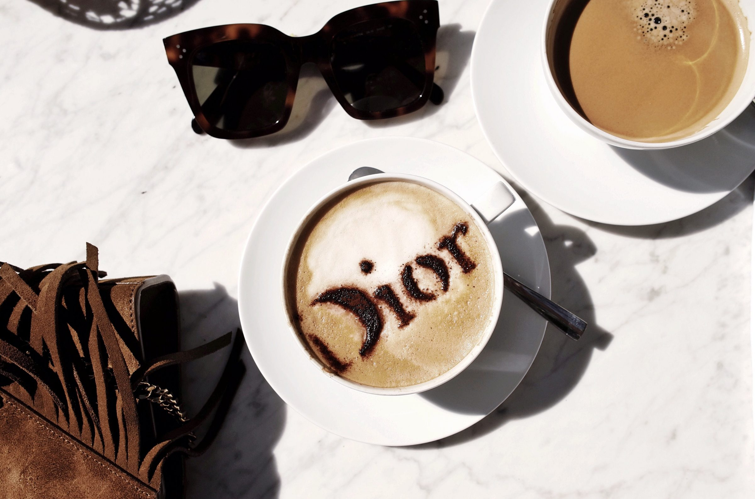 marianna hewitt where to lunch st tropez dior cafe coffee cappuccino celine sunglasses flat lay blogger travel