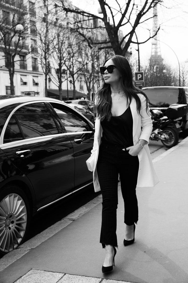 marianna hewitt dior street style ootd black jeans blazer celine sunglasses