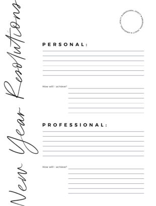 Free New Years Resolutions Printables