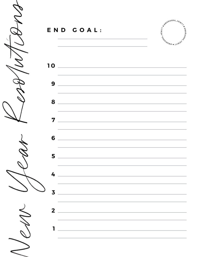 photograph about New Year Resolution Printable referred to as No cost Clean A long time Resolutions Printables - Lifetime With Me